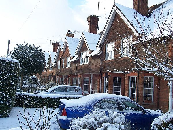 Cottages in Mid Street, opposite the school